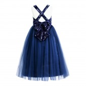 Navy Blue Crossed Straps A-Line Flower Girl Dress 177