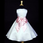 White/Dusty Rose A-Line Flower Pin Satin Flower Girl Dress 821S