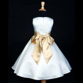 White/Gold A-Line Flower Pin Satin Flower Girl Dress 821S