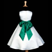 White/Green A-Line Flower Pin Satin Flower Girl Dress 821S