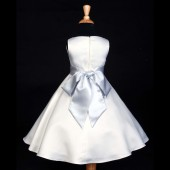 White/Silver A-Line Flower Pin Satin Flower Girl Dress 821S