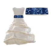 Ivory Satin Pick-Up Bubble Flower Girl Dress Navy Sequins 806mh