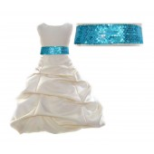 Ivory Satin Pick-Up Bubble Flower Girl Dress Turquoise Sequins 806mh