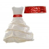 Ivory Satin Pick-Up Bubble Flower Girl Dress Red Sequins 806mh