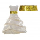 Ivory Satin Pick-Up Bubble Flower Girl Dress Sunbeam Sequins 806mh