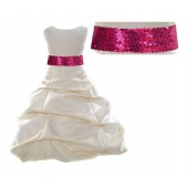 Ivory Satin Pick-Up Bubble Flower Girl Dress Fuchsia Sequins 806mh