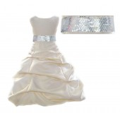 Ivory Satin Pick-Up Bubble Flower Girl Dress Silver Sequins 806mh