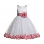 Ivory/Dusty Rose Tulle Rose Petals Flower Girl Dress Pageant 302S