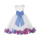 Ivory/Cornflower-Raspberry Tulle Mixed Rose Petals Flower Girl Dress 302T