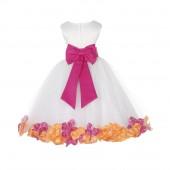 White/Fuchsia-Orange Tulle Mixed Rose Petals Flower Girl Dress 302T