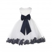 Ivory/Marine Tulle Rose Petals Flower Girl Dress Pageant 302T