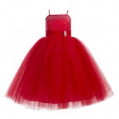 Red Tulle Rhinestone Tulle Dress Flower Girl Christmas 189
