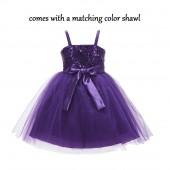 Purple Shawl Spaghetti-Straps Sequin Tulle Flower Girl Dress Elegant B-SH1508NF