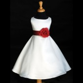 White/Apple Red A-Line Flower Pin Satin Flower Girl Dress 821S