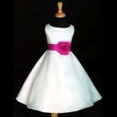 White/Fuchsia A-Line Flower Pin Satin Flower Girl Dress 821S