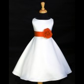 White/Orange A-Line Flower Pin Satin Flower Girl Dress 821S