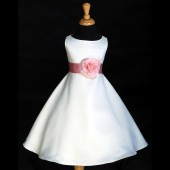 White/Pink A-Line Flower Pin Satin Flower Girl Dress 821S