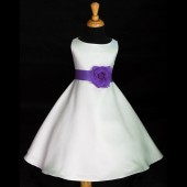 White/Purple A-Line Flower Pin Satin Flower Girl Dress 821S