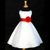 White/Red A-Line Flower Pin Satin Flower Girl Dress 821S