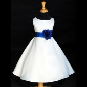 White/Royal Blue A-Line Flower Pin Satin Flower Girl Dress 821S