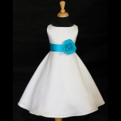 White/Turquoise A-Line Flower Pin Satin Flower Girl Dress 821S