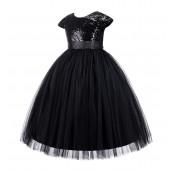 Black Cap Sleeves Sequin Flower Girl Dress 211