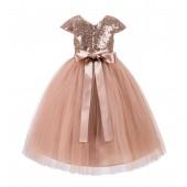 Rose Gold Cap Sleeves Sequin Flower Girl Dress 211