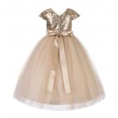 Champagne Cap Sleeves Sequin Flower Girl Dress 211