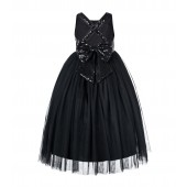 Black Crossed Straps A-Line Flower Girl Dress 177