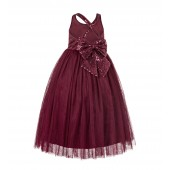 Burgundy Crossed Straps A-Line Flower Girl Dress 177