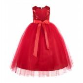 Red Sequin Heart Cutout Tulle Flower Girl Dress 172seq