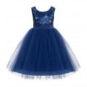 Navy Blue Sequins Bodice Ruffle Tulle Flower Girl Dress Flower Pin J122F