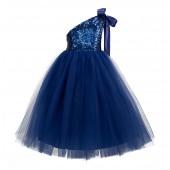 Navy Blue One-Shoulder Sequins Tutu Flower Girl Dress 182