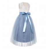 Dusty Blue Scalloped V-Back Lace A-Line Flower Girl Dress 207R