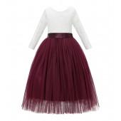 Burgundy A-Line V-Back Lace Flower Girl Dress with Sleeves 290R