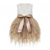Rose Gold Tiered Tulle Flower Girl Dress Lace Back Dress LG6