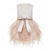 Blush Pink Tiered Tulle Flower Girl Dress Lace Dress Back LG6