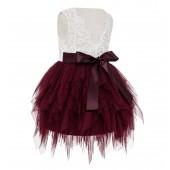 Burgundy Tiered Tulle Flower Girl Dress Lace Back Dress LG6