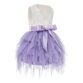 Lilac Tiered Tulle Flower Girl Dress Lace Back Dress LG6