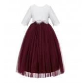 Burgundy Eyelash Lace Flower Girl Dress A-Line Tulle Dress LG5