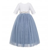 Dusty Blue Eyelash Lace Flower Girl Dress A-Line Tulle Dress LG5