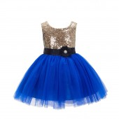 Gold/Royal Blue/Black Glitter Sequin Tulle Flower Girl Dress Party Ball Gown 123RF