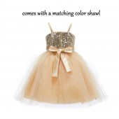 Gold Shawl Sequin Tulle Flower Girl Dress Special Occasions SH1508