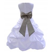 White/Mercury Satin Pick-Up Bubble Flower Girl Dress Wedding 808T