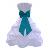 White/Oasis Satin Pick-Up Bubble Flower Girl Dress Wedding 808T