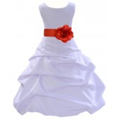 White/Persimmon Satin Pick-Up Bubble Flower Girl Dress Wedding 808T