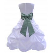 White/Sage Satin Pick-Up Bubble Flower Girl Dress Wedding 808T