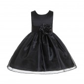 Black Satin Bodice Organza Skirt Flower Girl Dress 841T