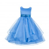 Cornflower Asymmetric Ruffled Organza Sequin Flower Girl Dress 012S