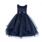 Marine Asymmetric Ruffled Organza Sequin Flower Girl Dress 012S